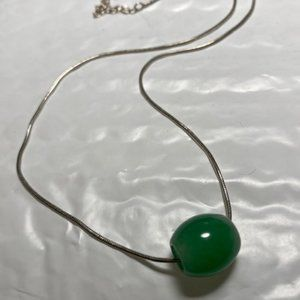 Sterling Silver Snake Chain w/ Jadeite Barrel Bead